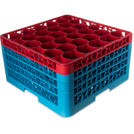 RW30-2C410 - OptiClean™ NeWave™ Color-Coded Glass Rack with 3 Integrated Extenders 30 Compartment (2pk) - Red-Carlisle Blue
