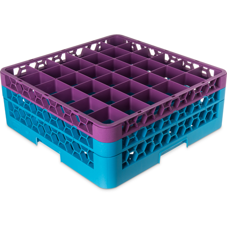"""RG36-2C414 - OptiClean™ 36-Compartment Divided Glass Rack with 2 Extenders 7.12"""" - Lavender-Carlisle Blue"""