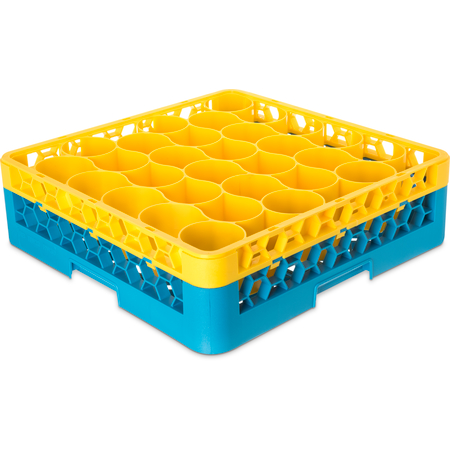 RW30-C411 - OptiClean™ NeWave™ Color-Coded Glass Rack with Integrated Extender 30 Compartment - Yellow-Carlisle Blue