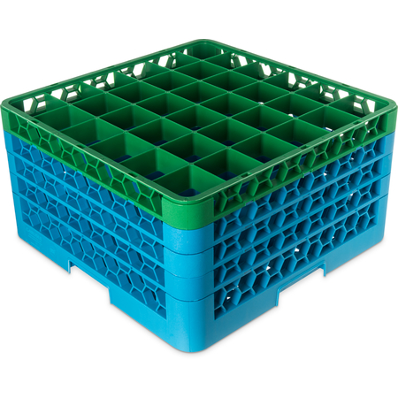 "RG36-4C413 - OptiClean™ 36 Compartment Glass Rack with 4 Extenders 10.3"" - Green-Carlisle Blue"