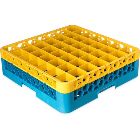 """RG49-1C411 - OptiClean™ 49 Compartment Glass Rack with 1 Extender 5.56"""" - Yellow-Carlisle Blue"""