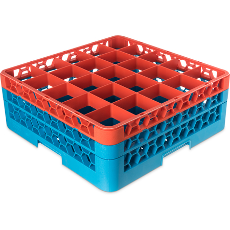 "RG25-2C412 - OptiClean™ 25-Compartment Divided Glass Rack with 2 Extenders 7.12"" - Orange-Carlisle Blue"