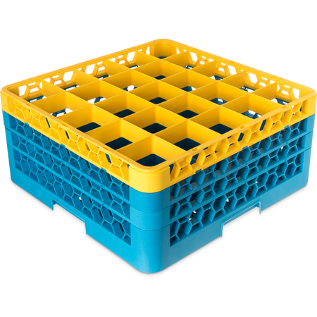 """RG25-3C411 - OptiClean™ 25-Compartment Divided Glass Rack with 3 Extenders 8.72"""" - Yellow-Carlisle Blue"""