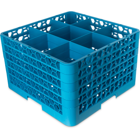 "RG9-514 - OptiClean™ 9 Compartment Glass Rack with 5 Extenders 11.9"" - Carlisle Blue"