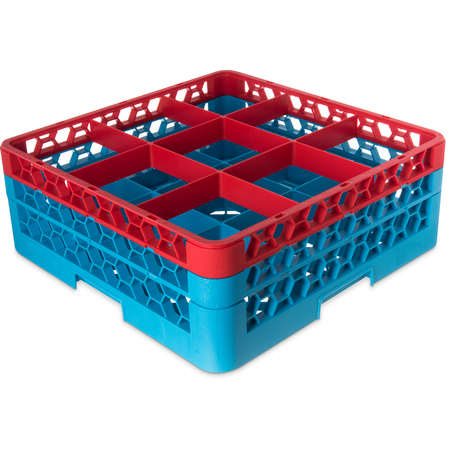 "RG9-2C410 - OptiClean™ 9-Compartment Divided Glass Rack with 2 Extenders 7.12"" - Red-Carlisle Blue"