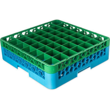 "RG49-1C413 - OptiClean™ 49-Compartment Divided Glass Rack with 1 Extender 5.56"" - Green-Carlisle Blue"