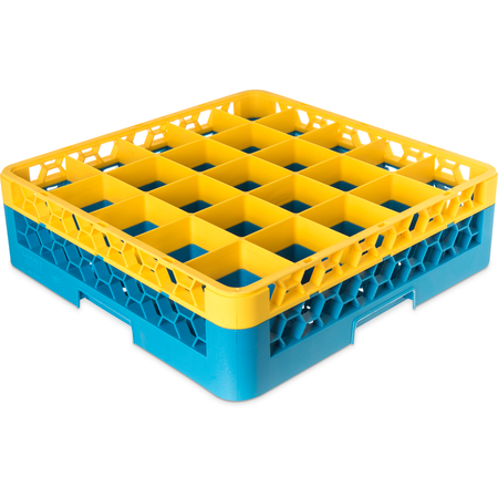 "RG25-1C411 - OptiClean™ 25-Compartment Divided Glass Rack with 1 Extender 5.56"" - Yellow-Carlisle Blue"