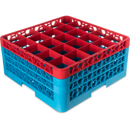 "RG25-3C410 - OptiClean™ 25-Compartment Divided Glass Rack with 3 Extenders 8.72"" - Red-Carlisle Blue"