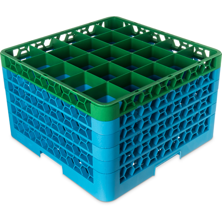 "RG25-5C413 - OptiClean™ 25-Compartment Divided Glass Rack with 5 Extenders 11.9"" - Green-Carlisle Blue"