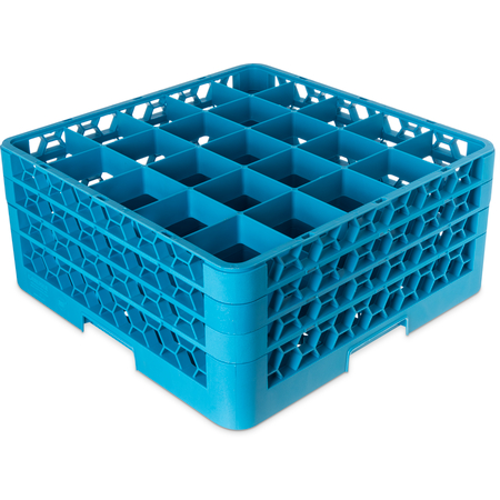 "RG25-314 - OptiClean™ 25-Compartment Divided Glass Rack with 3 Extenders 8.72"" - Carlisle Blue"
