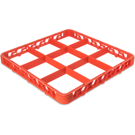 """RE9C24 - OptiClean™ 9 Compartment Divided Glass Rack Extender 1.78"""" - Orange"""