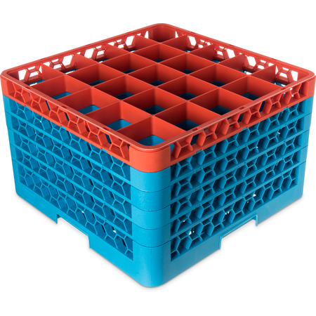 "RG25-5C412 - OptiClean™ 25-Compartment Divided Glass Rack with 5 Extenders 11.9"" - Orange-Carlisle Blue"