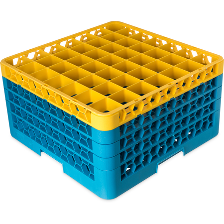 "RG49-4C411 - OptiClean™ 49-Compartment Divided Glass Rack with 4 Extenders 10.3"" - Yellow-Carlisle Blue"