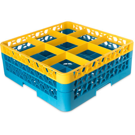 "RG9-2C411 - OptiClean™ 9-Compartment Divided Glass Rack with 2 Extenders 7.12"" - Yellow-Carlisle Blue"
