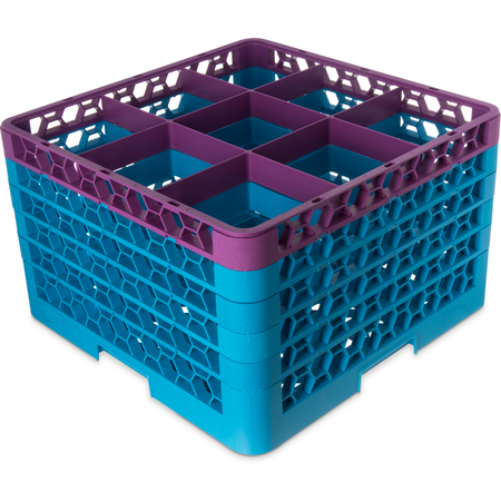 """RG9-5C414 - OptiClean™ 9 Compartment Glass Rack with 5 Extenders 11.9"""" - Lavender-Carlisle Blue"""
