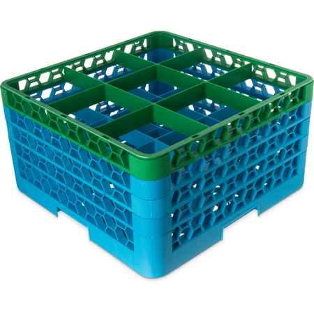 "RG9-4C413 - OptiClean™ 9-Compartment Divided Glass Rack with 4 Extenders 10.3"" - Green-Carlisle Blue"