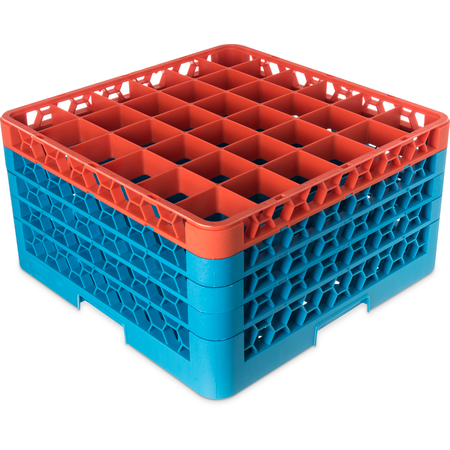 "RG36-4C412 - OptiClean™ 36-Compartment Divided Glass Rack with 4 Extenders 10.3"" - Orange-Carlisle Blue"