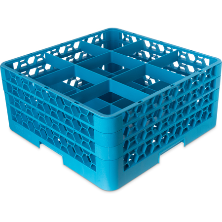 "RG9-314 - OptiClean™ 9-Compartment Divided Glass Rack with 3 Extenders 8.72"" - Carlisle Blue"