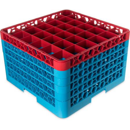 "RG36-5C410 - OptiClean™ 36-Compartment Divided Glass Rack with 5 Extenders 11.9"" - Red-Carlisle Blue"