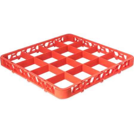 """RE16C24 - OptiClean™ 16-Compartment Divided Glass Rack Extender 1.78"""" - Orange"""