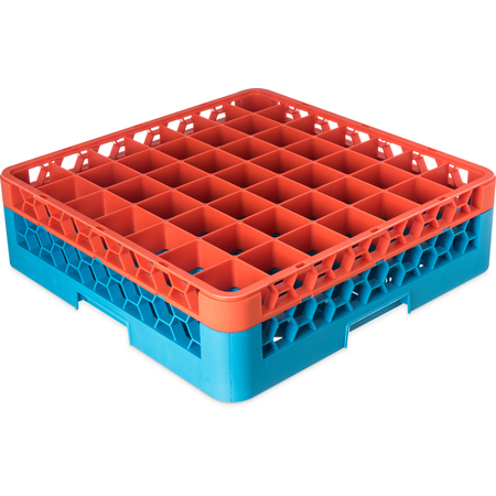 "RG49-1C412 - OptiClean™ 49-Compartment Divided Glass Rack with 1 Extender 5.56"" - Orange-Carlisle Blue"