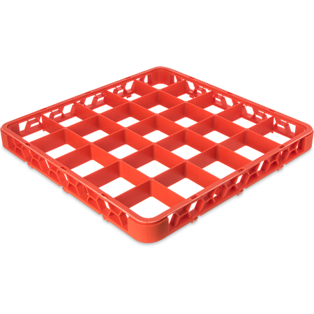 """RE25C24 - OptiClean™ 25-Compartment Divided Glass Rack Extender 1.78"""" - Orange"""