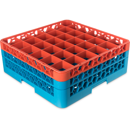 "RG36-2C412 - OptiClean™ 36 Compartment Glass Rack with 2 Extenders 7.12"" - Orange-Carlisle Blue"