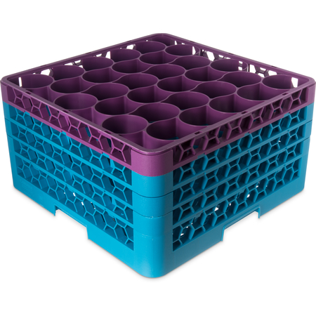 RW30-2C414 - Color-Coded Glass Rack with 3 Integrated Extenders 30 Compartment (2pk) - Lavender-Carlisle Blue