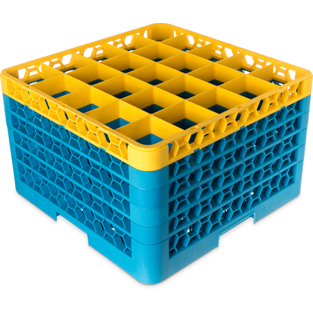 "RG25-5C411 - OptiClean™ 25-Compartment Divided Glass Rack with 5 Extenders 11.9"" - Yellow-Carlisle Blue"