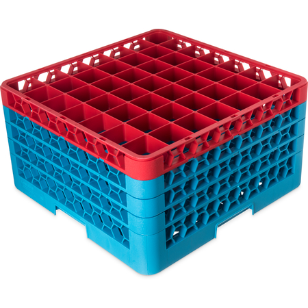 """RG49-4C410 - OptiClean™ 49-Compartment Divided Glass Rack with 4 Extenders 10.3"""" - Red-Carlisle Blue"""