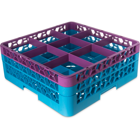 """RG9-2C414 - OptiClean™ 9-Compartment Divided Glass Rack with 2 Extenders 7.12"""" - Lavender-Carlisle Blue"""