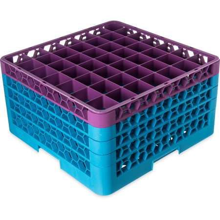 """RG49-4C414 - OptiClean™ 49-Compartment Divided Glass Rack with 4 Extenders 10.3"""" - Lavender-Carlisle Blue"""