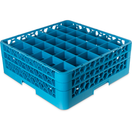 "RG36-214 - OptiClean™ 36-Compartment Divided Glass Rack with 2 Extenders 7.12"" - Carlisle Blue"