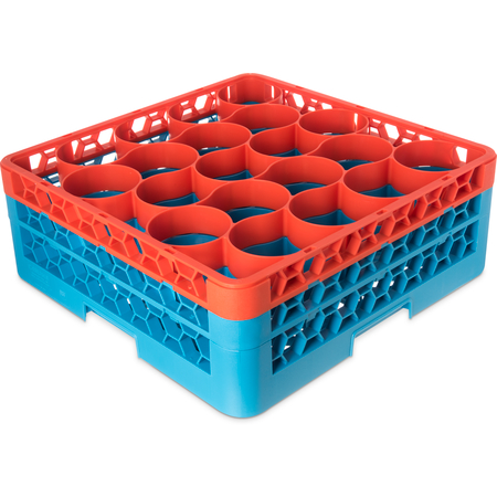 RW20-1C412 - OptiClean™ NeWave™ Color-Coded Glass Rack with Two Extenders 20 Compartment - Orange-Carlisle Blue