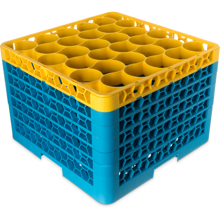 RW30-4C411 - OptiClean™ NeWave™ Color-Coded Glass Rack with 5 Integrated Extenders 30 Compartment - Yellow-Carlisle Blue