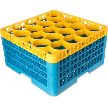 RW20-3C411 - OptiClean™ NeWave™ Color-Coded Glass Rack with Four Extenders 20 Compartment - Yellow-Carlisle Blue