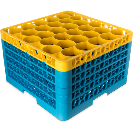 RW30-3C411 - OptiClean™ NeWave™ Color-Coded Glass Rack with 4 Integrated Extenders 30 Compartment - Yellow-Carlisle Blue
