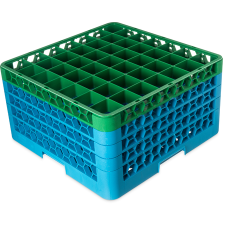 """RG49-4C413 - OptiClean™ 49 Compartment Glass Rack with 4 Extenders 10.3"""" - Green-Carlisle Blue"""