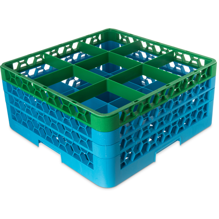 """RG9-3C413 - OptiClean™ 9-Compartment Divided Glass Rack with 3 Extenders 8.72"""" - Green-Carlisle Blue"""