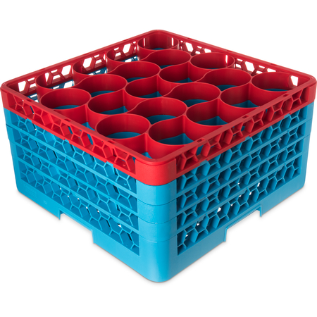 RW20-3C410 - OptiClean™ NeWave™ Color-Coded Glass Rack with 4 Integrated Extenders 20 Compartment - Red-Carlisle Blue