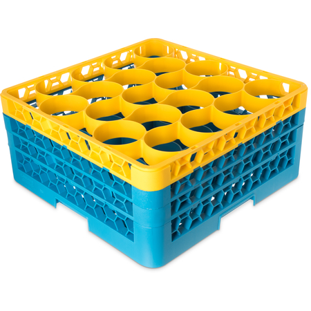 RW20-2C411 - OptiClean™ NeWave™ Color-Coded Glass Rack with 3 Integrated Extenders 20 Compartment - Yellow-Carlisle Blue