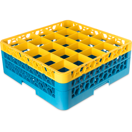 "RG25-2C411 - OptiClean™ 25-Compartment Divided Glass Rack with 2 Extenders 7.12"" - Yellow-Carlisle Blue"