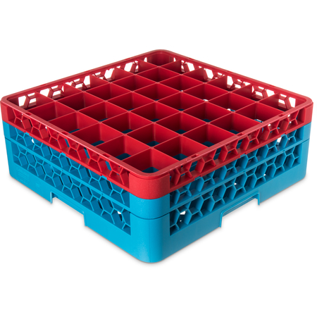 "RG36-2C410 - OptiClean™ 36-Compartment Divided Glass Rack with 2 Extenders 7.12"" - Red-Carlisle Blue"