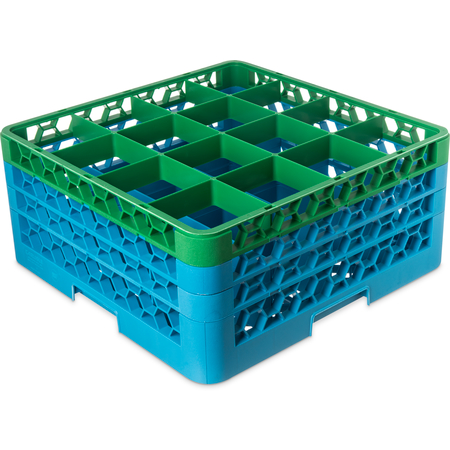 "RG16-3C413 - OptiClean™ 16-Compartment Divided Glass Rack with 3 Extenders 8.72"" - Green-Carlisle Blue"