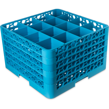 "RG16-514 - OptiClean™ 16-Compartment Divided Glass Rack with 5 Extenders 11.9"" - Carlisle Blue"
