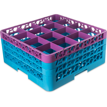 "RG16-3C414 - OptiClean™ 16-Compartment Divided Glass Rack with 3 Extenders 8.72"" - Lavender-Carlisle Blue"
