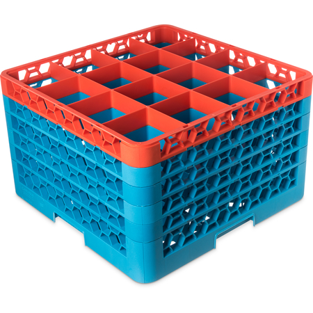 """RG16-5C412 - OptiClean™ 16 Compartment Glass Rack with 5 Extenders 11.9"""" - Orange-Carlisle Blue"""