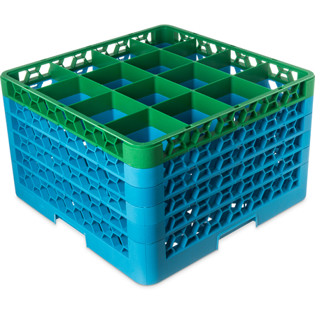"RG16-5C413 - OptiClean™ 16-Compartment Divided Glass Rack with 5 Extenders 11.9"" - Green-Carlisle Blue"