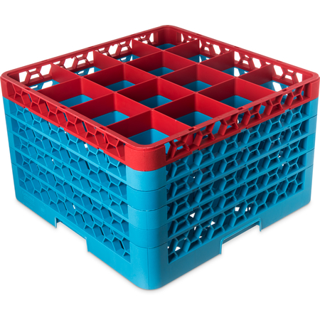 "RG16-5C410 - OptiClean™ 16-Compartment Divided Glass Rack with 5 Extenders 11.9"" - Red-Carlisle Blue"
