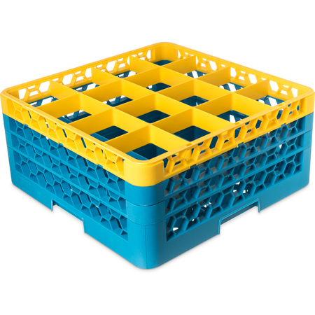 "RG16-3C411 - OptiClean™ 16-Compartment Divided Glass Rack with 3 Extenders 8.72"" - Yellow-Carlisle Blue"